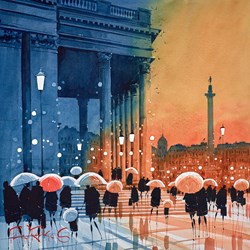 Trafalgar Reflections, London by Peter J Rodgers - Original Painting on Paper sized 20x20 inches. Available from Whitewall Galleries